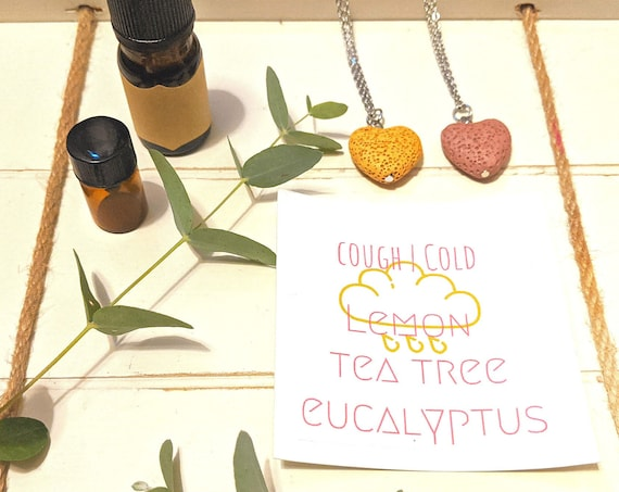 Cough & Cold Diffuser Necklace | Aromatherapy | Essential Oil Blend | Eucalyptus | Tea Tree | Lava Rock | Lemon Oil | Lava Bead