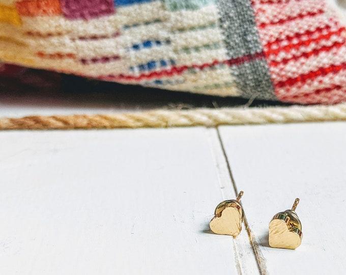 Featured listing image: Gold Heart Earring   Minimalist   Simple Heart Earring   Bridesmaid   Maid Of Honor   Best Friend   Teacher Gift   Little Girls Earring