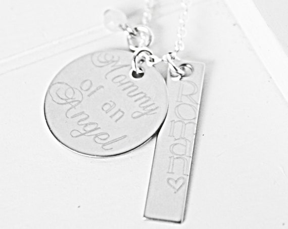 Mommy of an Angel | Miscarriage Memorial Necklace | Loss of Infant | In Memory Of Child | Sympathy | Personalized Necklace | Loss of Baby