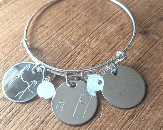 Personalized Christmas Gift | Mommy | Children's Drawing | Child's Handwriting On Bangle | Kid's Handwriting | Bangle | Charm Bracelet