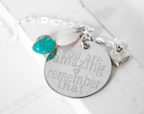 Encouragement | You Are Amazing Remember That | Sister Gift | Friend Gift | Gemstone Necklace | Healing Stone | Rose Quartz | Chrysocolla