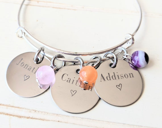 Mama Bangle | Personalized Gift for Mom | Grandmother Bracelet | Mommy Jewelry | Child Name | Grandchildren's Names Bangle | Birthstone