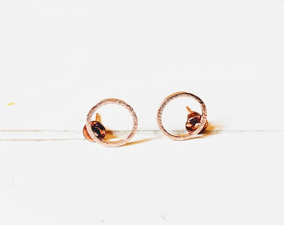 Minimalist Rose Gold Earrings | Christmas | Stocking Stuffer | Rose Gold Karma Earring | Friendship Circle Jewelry | Tiny Hoop Earring