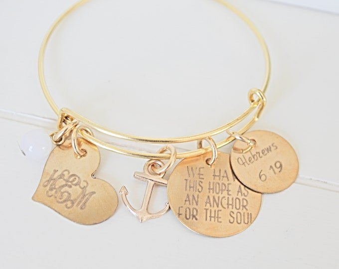 Featured listing image: We Have This Hope As An Anchor For The Soul | Hebrews 6:19 | Bangle Bracelet | Bible Verse | Christian | Charm Bracelet | Encouragement Gift