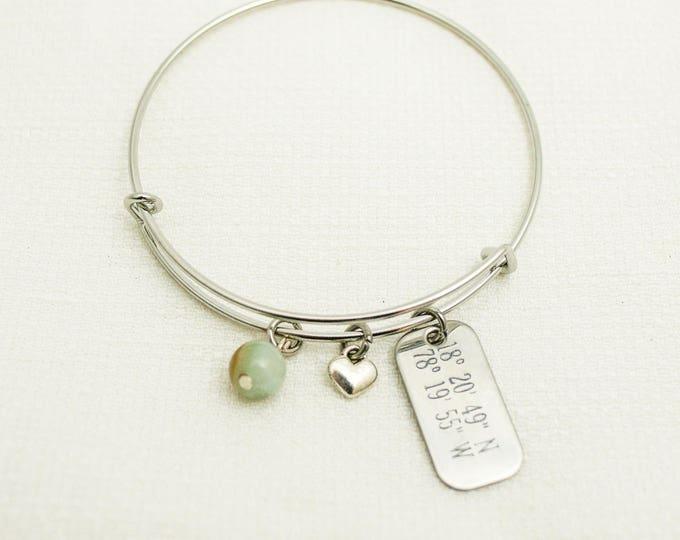 Featured listing image: Latitude Longitude Bracelet, Latitude Longitude jewelry, Coordinates bracelet, Coordinates bracelet,