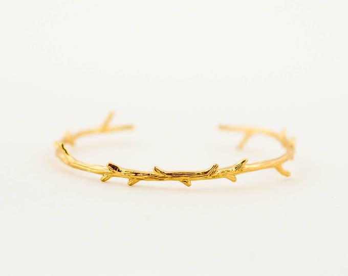 Featured listing image: Bridal | Bridesmaids | Wedding | Minimalist Tree Branch Bracelet, Gold Plated Bracelet, Layering Bracelet, Stacking Bangle, Tiny Tree Branch
