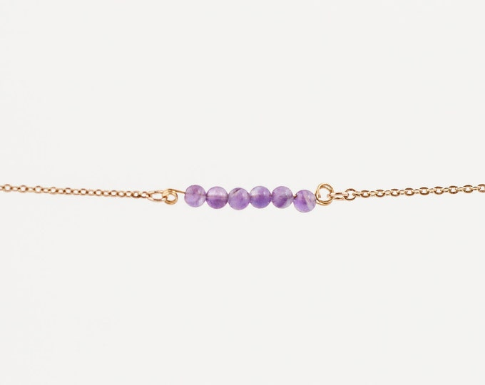 Featured listing image: February Birthstone | Natural Faceted Amethyst Stack | Stacking | Layering | Bracelet | Anklet | Necklace | Gemstone Bar | Simple Layering