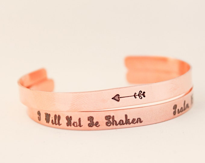 Featured listing image: Psalm 46:5 | I Will Not Be Shaken | She Will Not Fall | She Will Not Fail | Inspiration for Her | Christian Gift | Bible Verse Bracelet