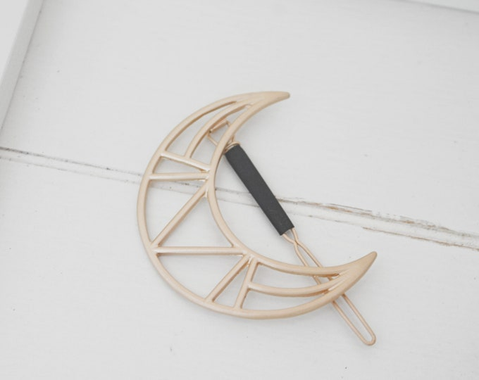 Featured listing image: NEW Geometric Moon Hair Accessories   Hair Clips   Moon Hair Barrette   Heart Barrette   Brushed Gold   Natural Style   Minimalist Style