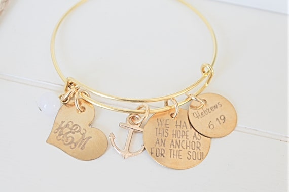 Christmas | We Have This Hope As An Anchor For The Soul | Hebrews 6:19 | Bangle | Bible Verse | Christian | Charm Bracelet | Encouragement