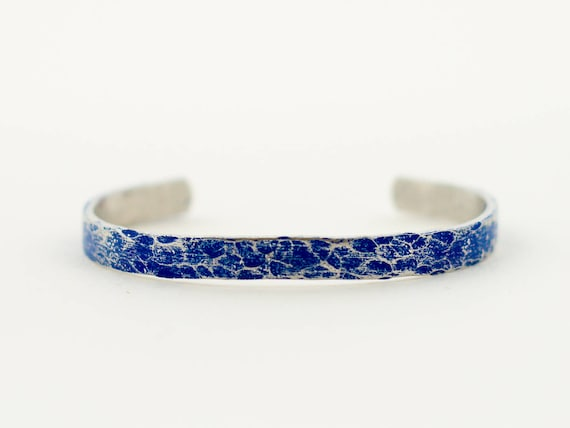 Thin Blue Line, Hammered and Painted Aluminum and Blue Cuff Bracelet, Layering Bracelet, Stacking Bangle, Stacking Cuff