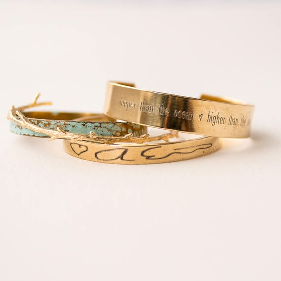 Deeper Than The Ocean | Higher Than The Sky | Handwriting | Signature | Gift Set | Bracelet Set | Memorial Gift | Loss of Husband | Sympathy