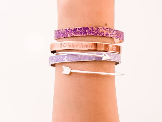 Graduation | Pantone Ultra Violet, Wonder Seeker, Simple Arrow Bangle, Layered, Hammered, Silver and Lavender, Copper and Purple