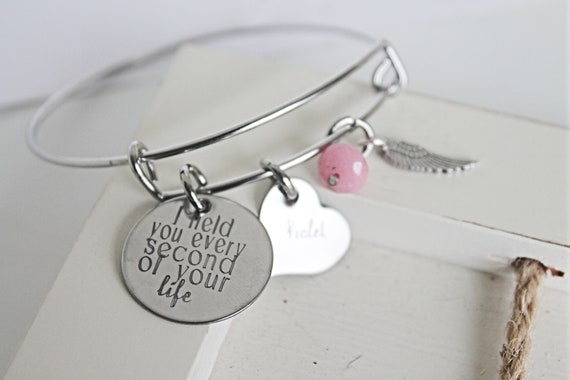 Miscarriage Bracelet | Loss Of Twins | I Held You Every Second Of Your Life | Miscarriage Memorial | Miscarriage Jewelry | Baby Loss Jewelry