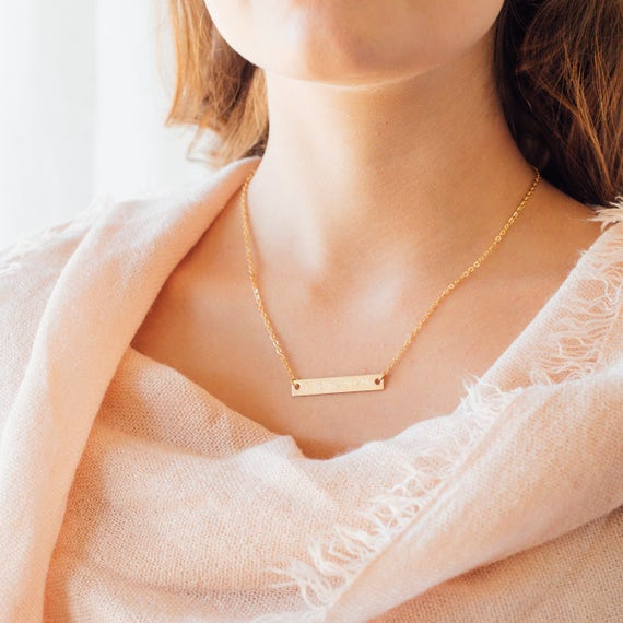 Gold Bar Necklace | Sterling Silver Bar Necklace | Rose Gold Bar Necklace | Personalized Name Necklace | Handwriting Jewelry | Coordinates
