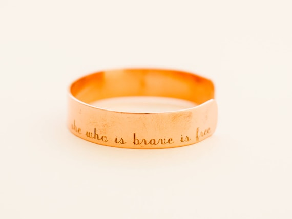 She Who Is Brave Is Free   Graduation Gift   Mantra Cuff Bracelet   Copper Cuff Bracelet   Layering Cuff   Stacking Bangle   Stacking Cuff