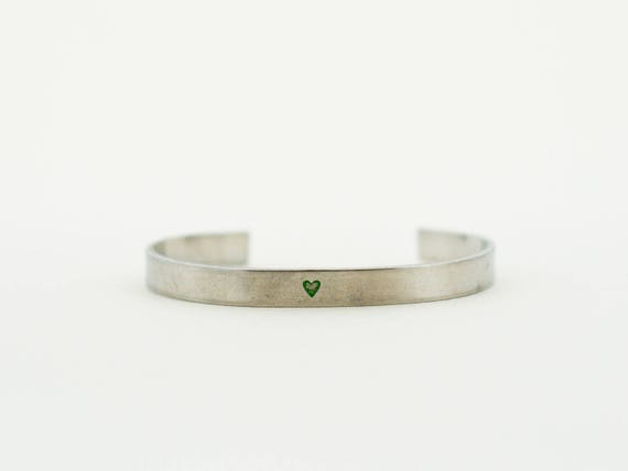Tiny Heart, Silver and Green Heart Bracelet, Simple Love Jewelry, Cuff Bracelet, Layering Bracelet, Stacking Bangle, Stacking Cuff