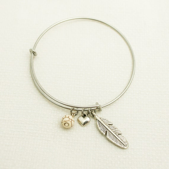 Inspirational | Spiritual Evolution | Feather Symbolism | Simple Bangle Bracelet | Heart Charm | Native American Symbolism