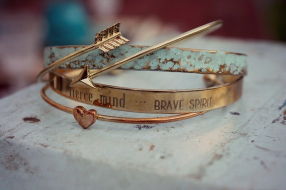 Inspirational | Kind Heart, Fierce Mind, Brave Spirit | Graduation | Encouragement | Best Friend Gift | Stackable Bracelet | Brave Bracelet