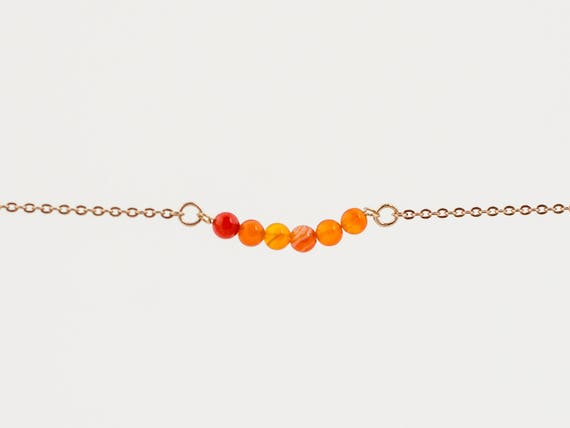 November Birthstone | Ambition Stone | Fire Agate Bracelet | Layering | Birthstone Necklace | Anklet | Choker | Stack | Stacking | Layering