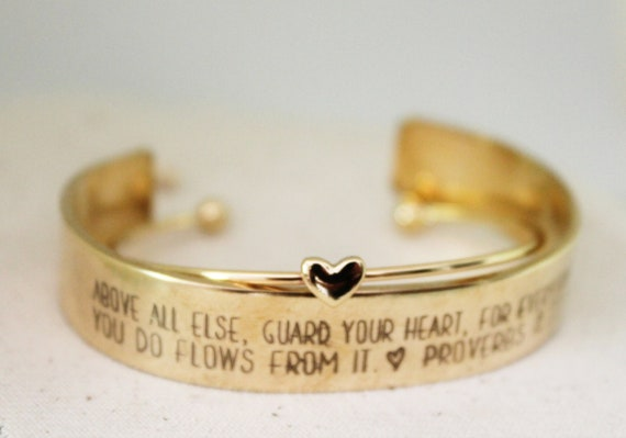 Guard Your Heart | Proverbs 4:23 | Bible Verse Jewelry | Christian Bracelet | Off To College | Inspirational Gift | Sunday School Teacher