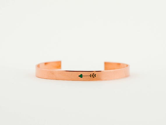 Tiny Arrow, Copper and Green Arrow Bracelet, Simple Jewelry, Cuff Bracelet, Layering Bracelet, Stacking Bangle, Stacking Cuff