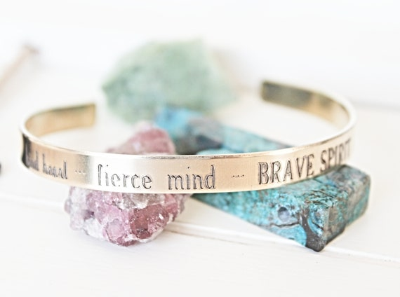 Christmas | Kind Heart | Fierce Mind | Brave Spirit | Inspirational Gift | Gift for Friend | Best Friend Gift | Positive Quote Jewelry