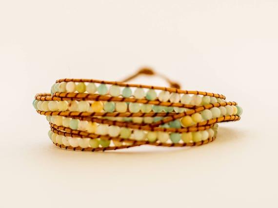 Mala   Natural Gemstone Wrap    Amazonite   Layered Wrap   Healing Stones   Emotional Healing Energy   Stone of Harmony   Peace Stone