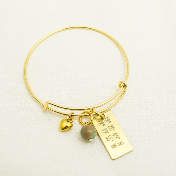 Christmas | Coordinates Bracelet | Best Friend Gift | Charm Bracelet | Bangle | Friend Gift | Charm Bracelet | Personalized Gift