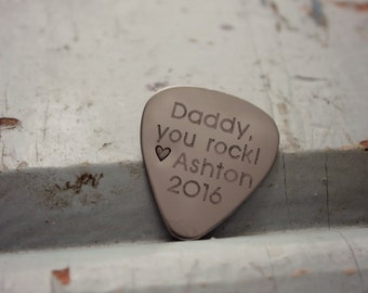 Daddy You Rock, Father's Day Guitar Pick, Men's Gift, Gift for Daddy, Custom Guitar Picks, Gift for Dad from Daughter