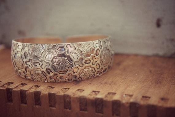 Honey Comb Pattern Bohemian Cuff Bracelet   Stacking   Layering