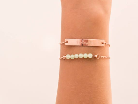 Personalized Mother's Day Gift | Name Jewelry | Rose Gold Bar Jewelry | Handwriting Jewelry | Children's Handwriting | Birthstone Bracelet