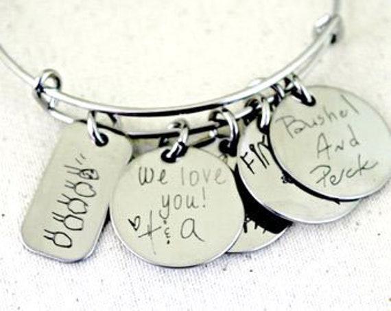 Personalized Mom Gift | Mommy | Children's Drawing | Child's Handwriting On Bangle | Kid's Handwriting | Bangle | Charm Bracelet