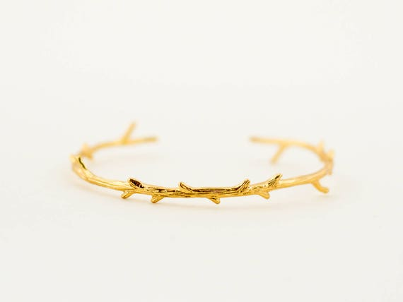 Bridal | Bridesmaids | Wedding | Minimalist Tree Branch Bracelet, Gold Plated Bracelet, Layering Bracelet, Stacking Bangle, Tiny Tree Branch