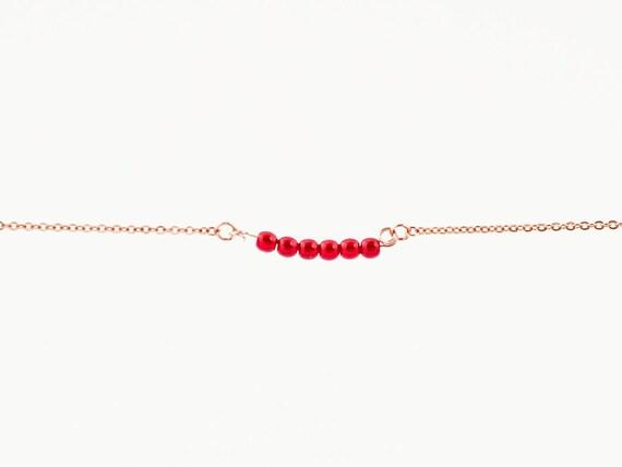 July Birthstone | Ruby Red Jade Stone | Bracelet | Anklet | Necklace | Stack | Stacking | Layering | Gemstone Bar | Simple