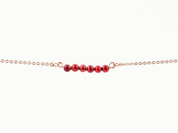 January Birthstone | Delicate Natural Red Coral | Bracelet | Anklet | Necklace | Stack | Stacking | Layering | Gemstone Bar | Simple