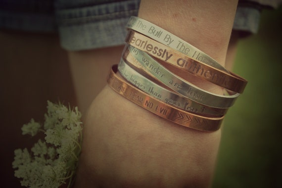 Inspiration   Mantra Stacking Cuffs, Not All Who Wander Are Lost, Be Fearlessly Authentic, Bull By The Horns, Soul Shine, Fear No Evil