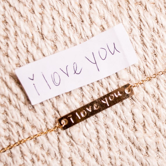 Custom Jewelry Sterling Silver | Personalized Mother's Day Gift | Gold Bar Necklace | Handwriting Necklace | Rose Gold Signature Necklace