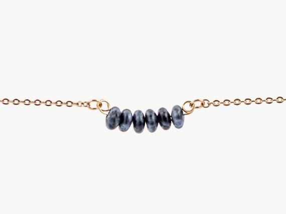 September Birthstone | Delicate Natural Sodalite Stone | Bracelet | Anklet | Necklace | Adult or Child | Gemstone Bar | Simple