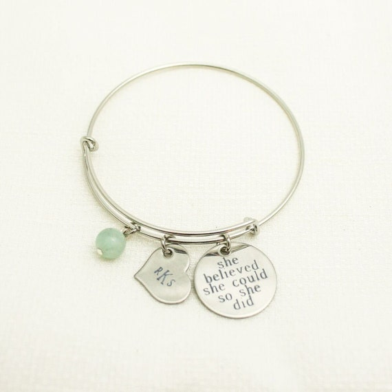 Charm Bracelet | Personalized Bangle | She Believed She Could So She Did | Graduation Gift | Best Friend Gift | Nursing School Graduation