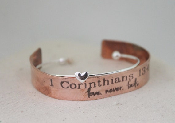 Love Never Fails | 1 Corinthians 13 | Bible Verse Jewelry | Christian | Religion | Inspirational Gift | Sunday School Teacher Gift | Cuff