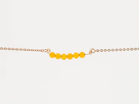 November Birthstone | Natural Orange Jade Stone | Stack | Stacking | Layering | Bracelet | Anklet | Necklace | Gemstone Bar | Minimal