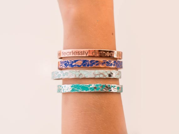 Mantra Prayer Cuff, Be Fearlessly Authentic, Layered Cuff Bracelets, Robin's Egg Blue, Turquoise, Cobalt Blue, Copper, Inspiration for Woman