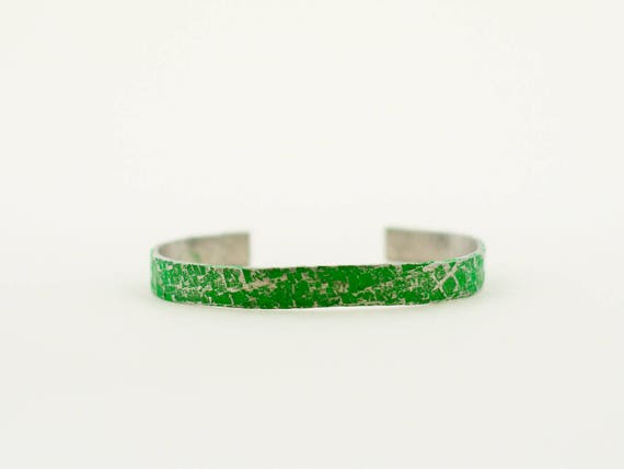 Non-Hodgkin Lymphoma Awareness, Hammered and Painted Silver and Green Cuff Bracelet, Layering Bracelet, Stacking Bangle, Stacking Cuff