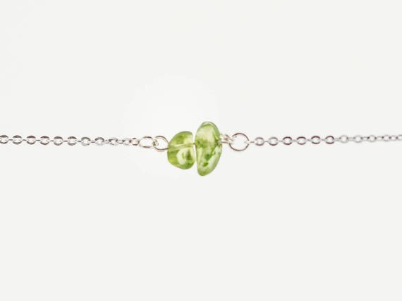 Christmas | Stocking Stuffer | Positive Vibe Stone | Delicate Peridot Nugget Gemstone Bracelet | Anklet | Necklace | Birthstone