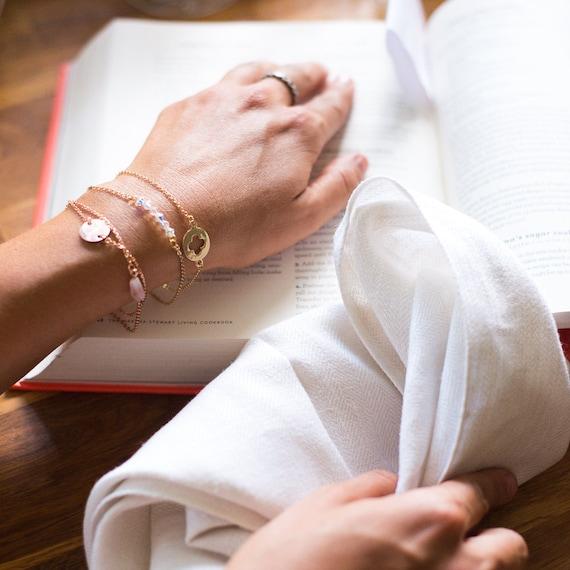 Custom Jewelry Sterling Silver | Mother's Day Gift, Layered Bracelet Set, Birthstone Bracelet, Child's Signature Name Bracelet, Gift For Mom