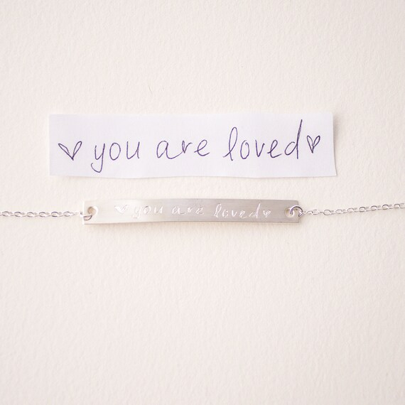 Custom Jewelry Sterling Silver | Personalized Mother's Day Gift | Handwriting Jewelry | Name Bracelet | Child's Signature Jewelry