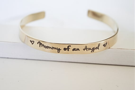 Mommy Of An Angel | Memorial Gift | Infant Loss | Miscarriage | Sympathy Gift | Bangle Bracelet | Cuff | Remembrance | Loss Of Mother