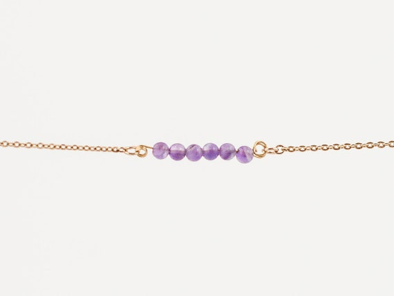 February Birthstone | Natural Faceted Amethyst Stack | Stacking | Layering | Bracelet | Anklet | Necklace | Gemstone Bar | Simple Layering