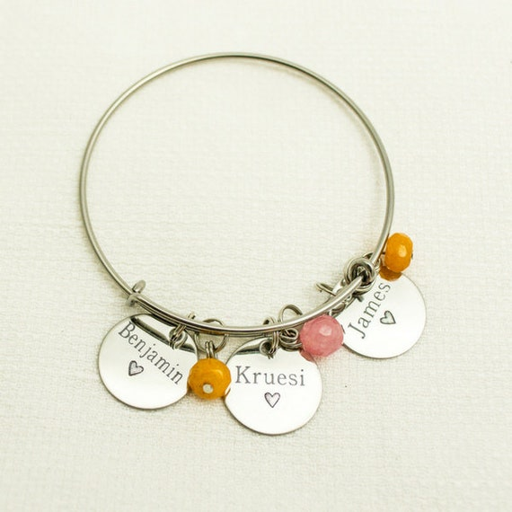 Personalized Mama Gift | Grandmother | Bangle | Mommy Jewelry | Child Name Bracelet | Birthstone Bangle | Charm Bracelet for Mom